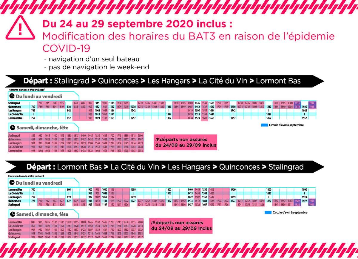 Liaisons #Bat3 interrompues ce weekend et modifiées jusqu'au 29 septembre. @tbm #Lormont #transport #navettefluviale #Gironde #covid19 Consulter le planning et les horaires par ici 👇 https://t.co/TzvWHctxLL