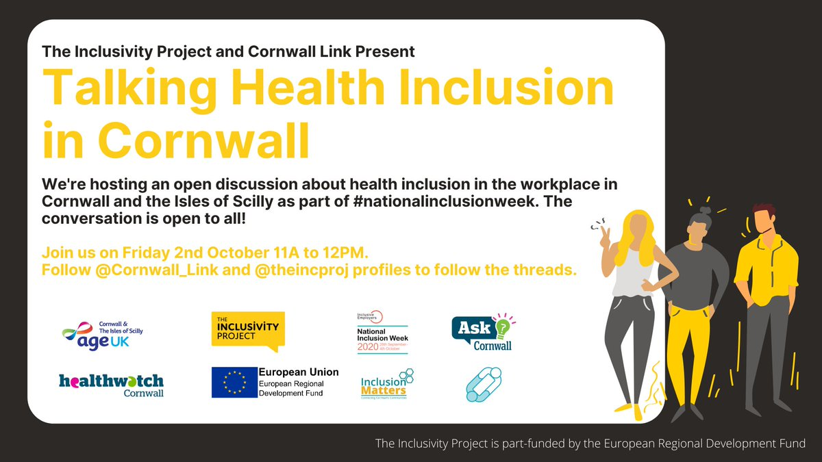 Join us next Friday at 11am with Cornwall Link for a Twitter Q&A discussing Work Health & Wellbeing in Cornwall as part of #nationalinclusionweek  Check out our other #nationalinclusionweek activities here: https://t.co/CYpAmPFdUg   @Cornwall_Link  @AgeUKCornwall @HWCornwall https://t.co/Y2XUPnqs4C