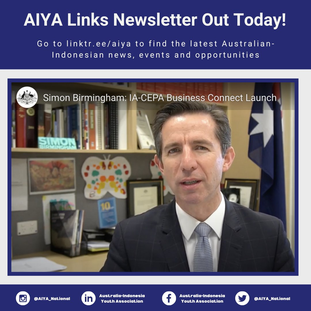 Lots of opportunities & events are featured in this week's edition of the AIYA Links Newsletter. Find the latest Aus-Indo news, stories, events and opportunities in AIYA's weekly newsletter. Subscribe via: https://t.co/yRZcw4JQtu  #indonesian #foreignaffairs #indopacific https://t.co/htC5Ly9psp
