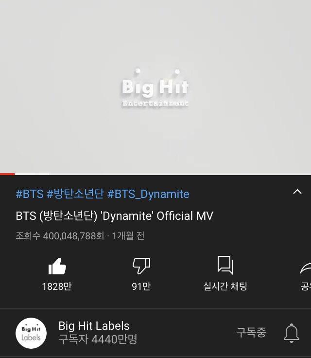🎉🎉방탄소년단 @BTS_twt #BTS_Dynamite MV 4억뷰 달성!🎉🎉  4억뷰 달성을 진심으로 축하합니다! 🥳 #Dynamite400M  🎞https://t.co/CUSpDJmXHT https://t.co/lyIuo5Gz4S
