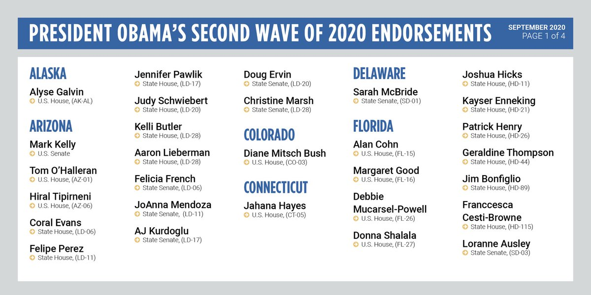 I'm proud to endorse these outstanding Democratic candidates who will work to get the virus under control, rebuild the economy and the middle class, and protect Americans' health care and preexisting conditions protections. Support these candidates––and vote early if you can. https://t.co/KETni3uwBt