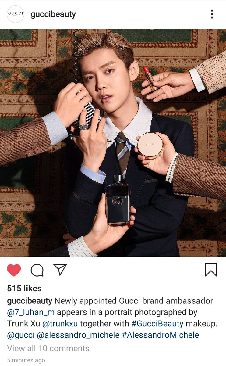 [PICTURE] 200925 Gucci Beauty Official's Instagram updates: Newly appointed Gucci brand ambassador #LuHan appears in a portrait photographed by Trunk Xu together with #GucciBeauty makeup.  Cr. guccibeauty Link: https://t.co/Qm0Yqxpzwr  #鹿晗 https://t.co/ToipL4LxbX