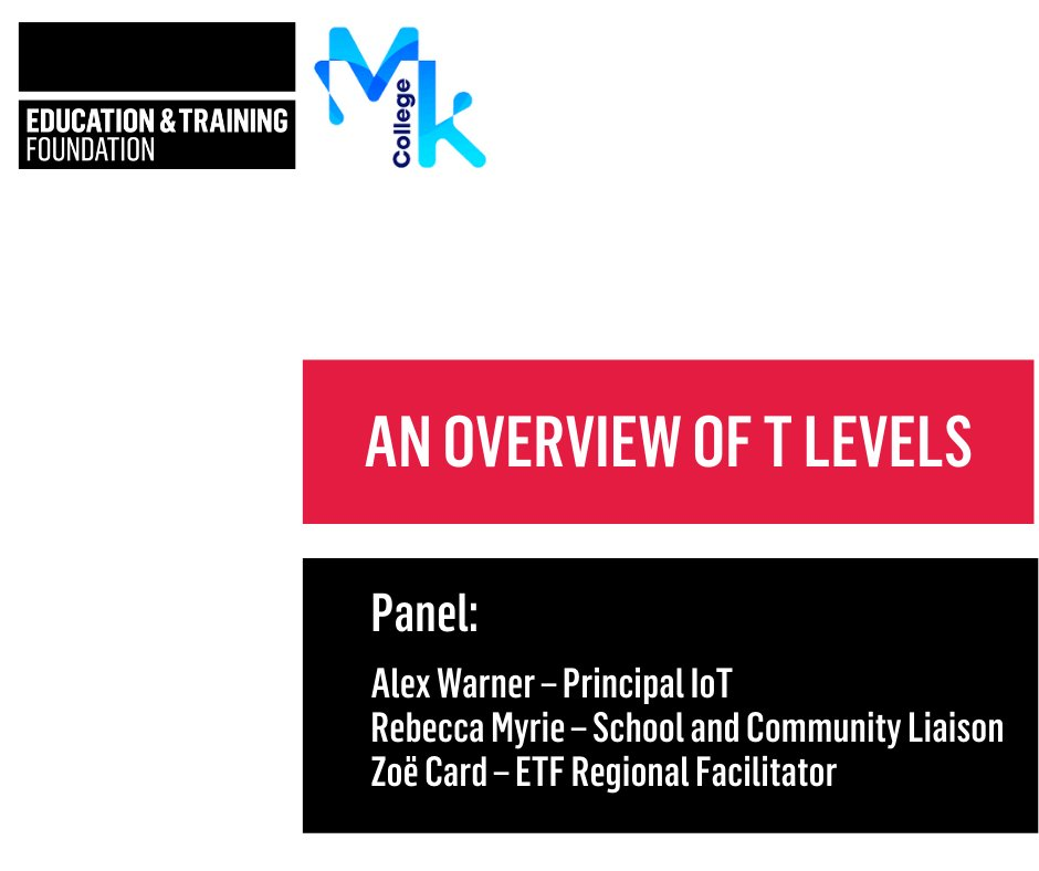 .@MKcollege hosted a fantastic session yesterday on the technical reforms, T Level courses & roll-out of #TLevels at their college over the next few years. This was followed by an excellent Q&A session around entry requirements, A Level parity & national marketing! #ETFSupportsFE https://t.co/5yVGCXlEHm
