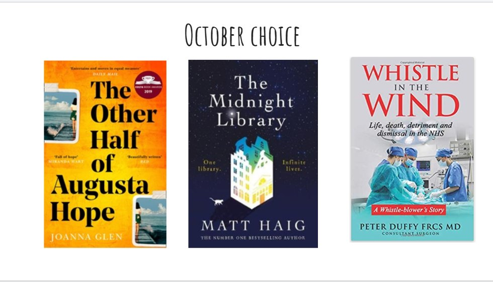 The vote for the October #PennineCarePeople book club read is open. Choose from 'The other half of Augusta Hope' 'The Midnight Library' or  'Whistle in the Wind' Vote here https://t.co/pA9vMeIUbt The meeting will take place on the last Weds of Oct. Contact me for more details. https://t.co/lvpE2Aeeid