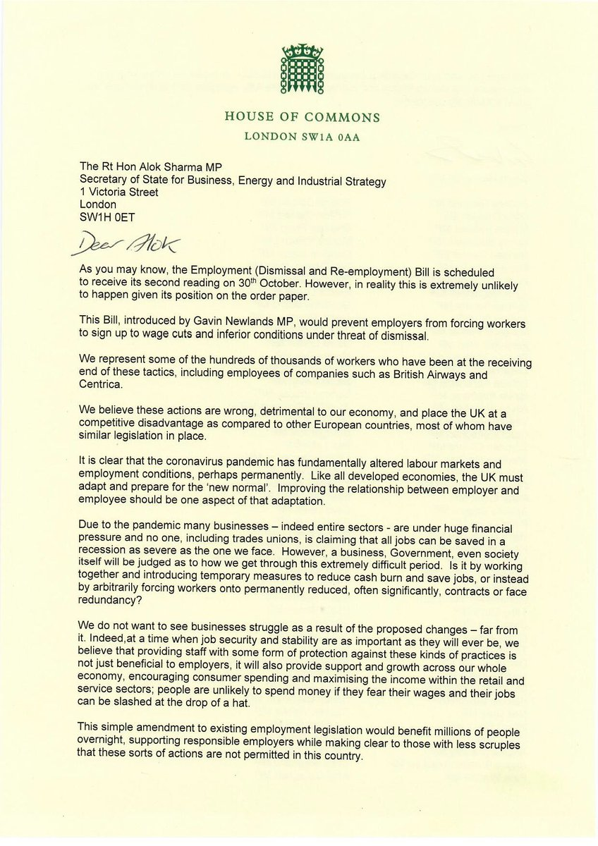 So many jobs and lives already negatively affected by #fireandrehire practices. If the Govt doesn't act to stamp this out more will follow the awful example set by #BritishAirways & #BritishGas Thank you @GavNewlandsSNP for co-ordinating this letter https://t.co/3scrBPb0bL