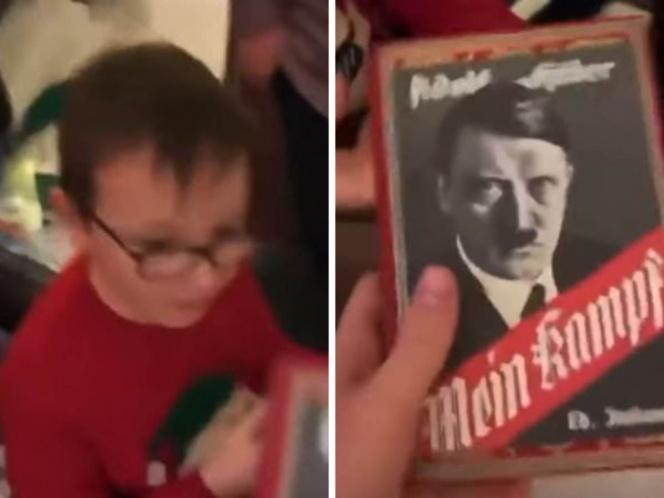 フランスのお爺さん、孫からクリスマスプレゼントにゲームのマインクラフト(Meincraft)を頼まれて、ヒトラーの「我が闘争」(Mein Kampf)を贈ってしまう。息子から「何考えてるの?」と非難される。