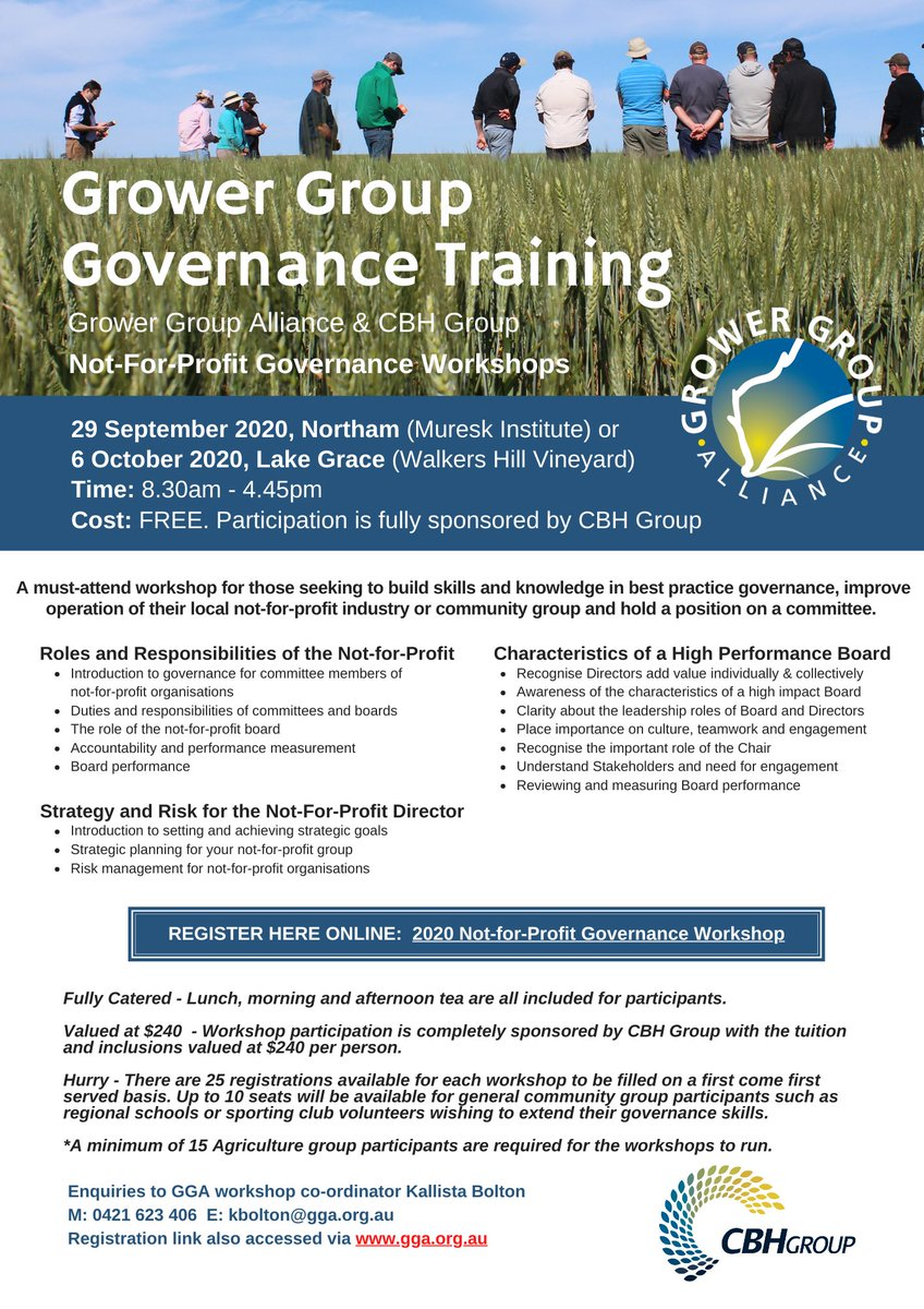 The @GGA_WA Governance workshops have been well subscribed to, it's not too late for a last minute registration, 4 places left for next Tuesday 29 Sep at Northam & 4 left on 6 Oct at Lake Grace. Fully sponsored by @cbhgroup. Details at https://t.co/mTEa6vRZWj https://t.co/1THzTNw2S8