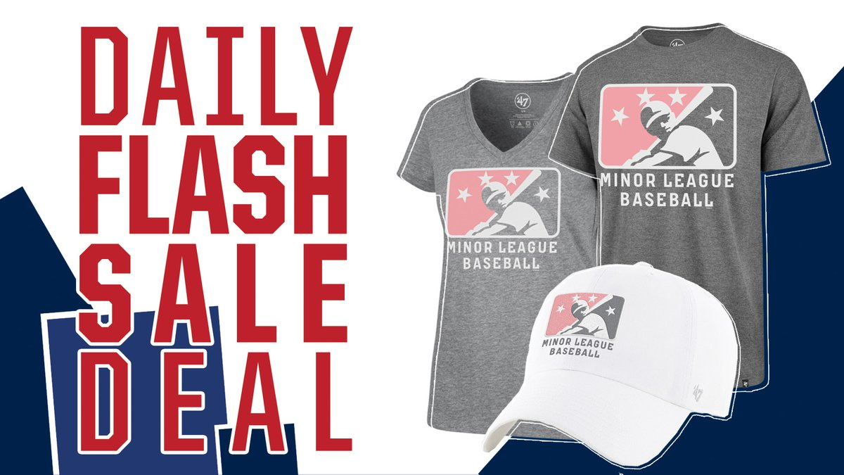 🚨DAILY FLASH SALE DEAL OF THE DAY🚨 Buy a white and pink MiLB logo adjustable @47brand cap (now only $15), get a mens or womens grey tee with MiLB logo tee for 50% off. Details & Daily Sale Schedule here: bit.ly/33WaZBy