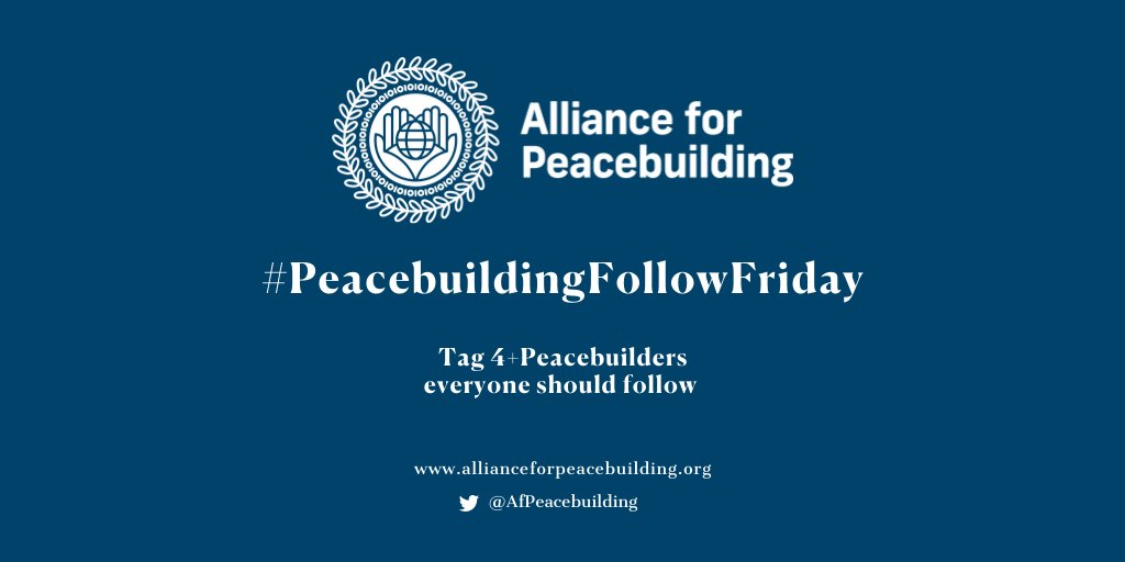 📣This #PeacebuildingFollowFriday, everyone should follow 👉@pcdnetwork @IdeasB2 @MCNNY @WCAPSnet @Civil_Affairs @IAmNuru @counterpartint @CarterCenter @DexisConsulting @Rotary @WorldLearning @FrameWorksInst @PartnersGlobal @HumanityUnited @PlusPeaceCo.  Tag 4+ Peacebuilders! https://t.co/uL7jctSyB0