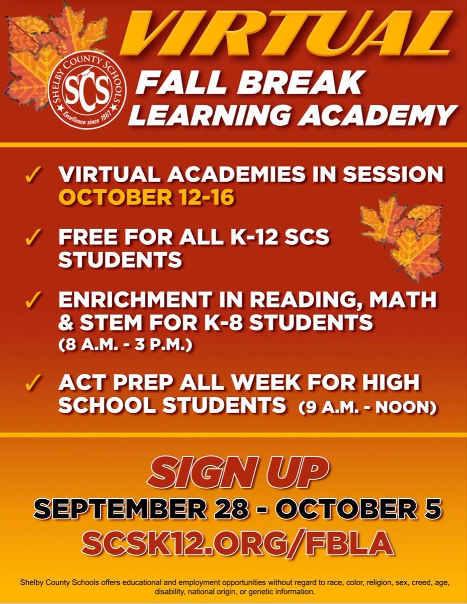 Accessible enrichment for ALL children is another step toward EQUITY. As we also address learning loss, we're excited to launch our 2nd Fall Break Learning Academy for students K-12, including ACT Prep all week for our high schoolers. Register NOW: https://t.co/q5y2awBxxK https://t.co/K8PyvrAX5O