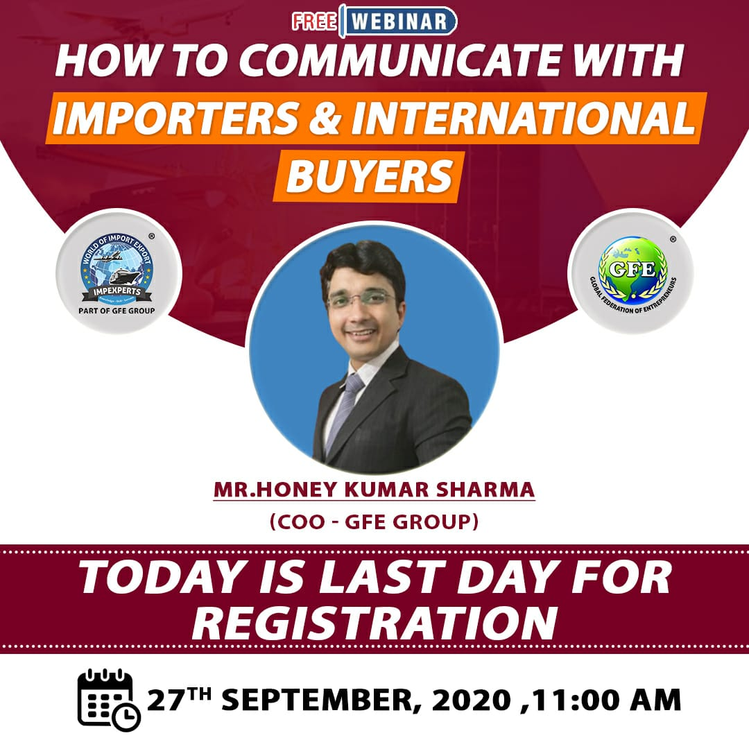 Hurry ! FEW Seats LEFT !!  CLICK here.. https://t.co/EPdch4E3sa  & RECEIVE Free E-TICKET in your MAIL after REGISTRATION Process !  #today #lastday #FREE #Registration #webinar #online #seminar #howto #communicate #international #buyers #importers #freeevent #impexperts https://t.co/q7ZWrgwD6i