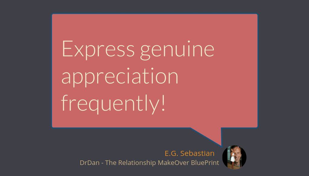 "Relationship Makeover Rule 1 - ""Express genuine appreciation frequently!"" Want to know about others? https://t.co/WWzd2I4a00   #relationshipcoachingforcouples #staypositive #healthyrelationship #relationshipcoaching #RelationshipMakeOverBlueprint https://t.co/k9PMBe5hJN"