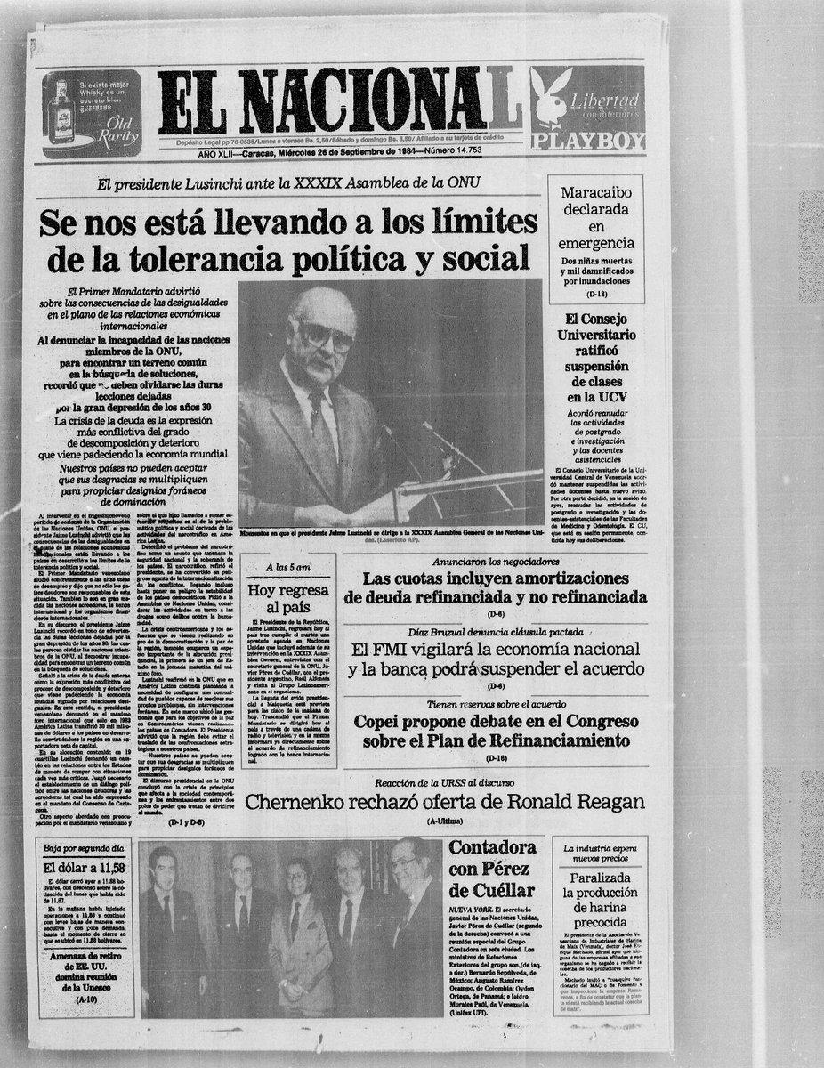 Discursos de dos presidentes de Venezuela en la ONU: Jaime Lusinchi (26/09/1984) y Carlos Andrés Pérez (26/09/1991) https://t.co/xQlPyV9GDf