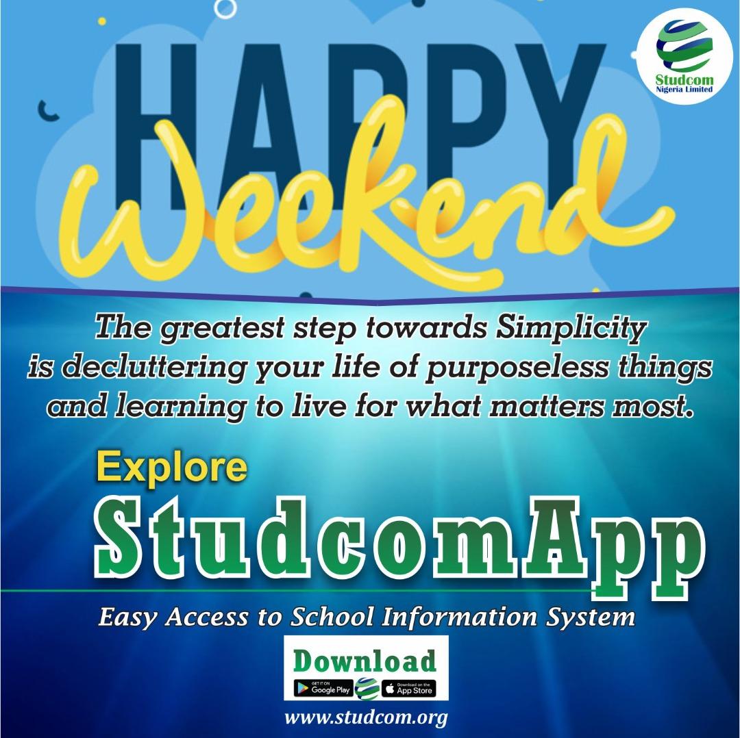 We all from Studcom Nigeria Limited wishes you a happy weekend #studcomapp #parents #studcomapp #communicationwithparents #teachers #studcomcommunicationapp  #Studcomstudentsapp https://t.co/6atchfDd4r
