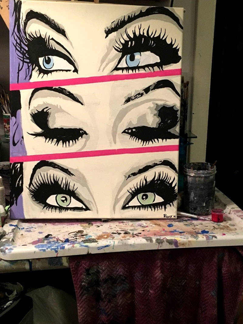 "a #Painting I painted last year: 'I Saw #Danger in Her #Eyes' #PopNoir #PopArt! 2019, acrylic and oil blend on canvas, 16""x20"" by @ArtistJamieRoxx #JamieRoxx (https://t.co/6dzFgAKDxk) This Sold Painting is not available. But, I'm always accepting Commissions. https://t.co/CyQsHdm4wH"