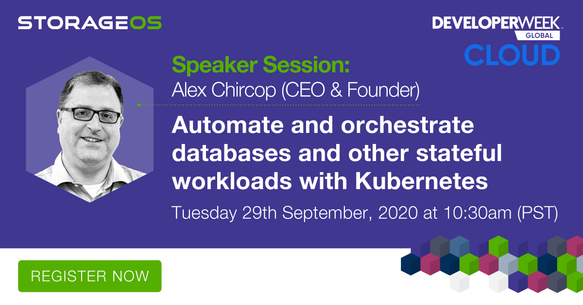 Are you attending @DeveloperWeek? If so, check out our talk with @chira001, on Automating and orchestrating #databases and other #stateful workloads with #K8s on Tuesday 29th September at 10:30am (PST). Learn more: https://t.co/DJMWOby3JX  #Storage #Cloudnative #Kubernetes #Cloud https://t.co/T4N0UO7CeR