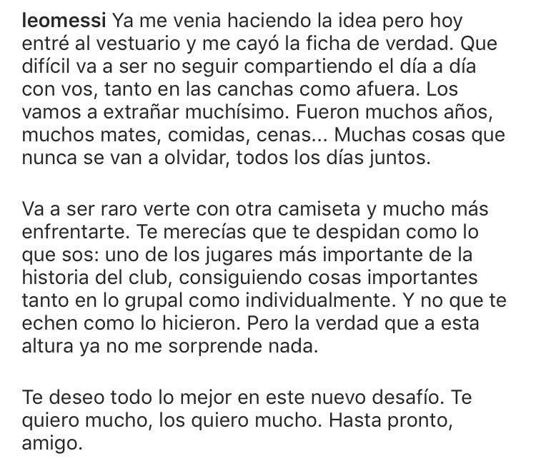 Palabras de Messi para despedir a su amigo Luis Suárez. https://t.co/O4zPHN7uF0