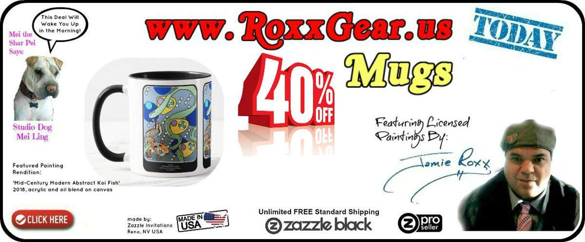 Today in #RoxxGear (https://t.co/CIGhXfxnhy) the Official #JamieRoxx #PopArt Paintings #Merch #WebStore:  ● 40% Off Mugs ● FREE SHIPPING w/ Zazzle Black USE CODE:  GIFTSHOPPING  #MidCenturyModern (#Abstract Style) #Koi Fish Painting on a #Mug https://t.co/YxRbIZ4V5i