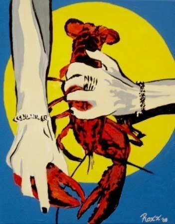 "a #Painting I painted a few years ago: '#Lobster Lunch #PopArt!' 2008 acrylic on wood board 18""x24"" by @ArtistJamieRoxx #JamieRoxx (https://t.co/6dzFgAKDxk) This Sold Painting is not available. #NationalLobsterDay https://t.co/1xG7RV3Qlp"