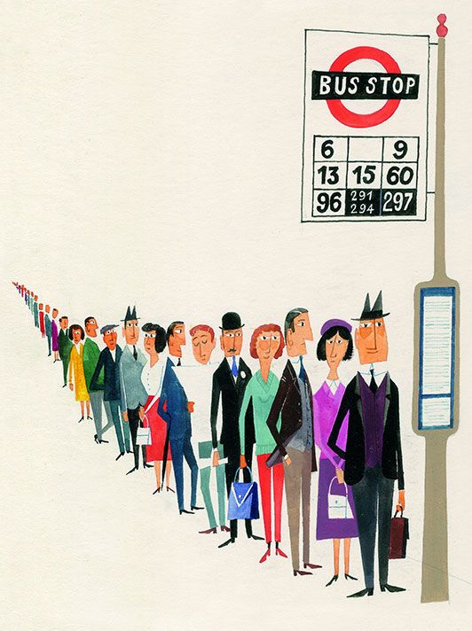 This card by Miroslav Sasek reminds us of our pre-lockdown days in London when you would often see a queue like this going into work. #BeforeLockdown https://t.co/kwoU7YfQl7