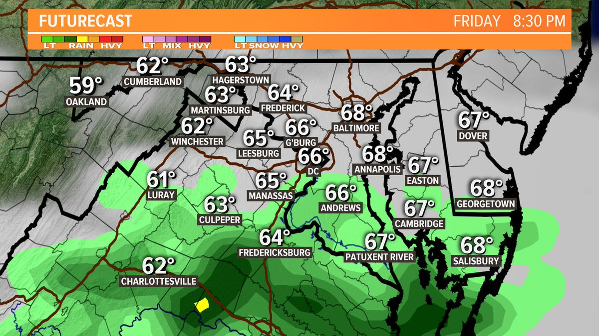 There's a chance for showers today, but the bulk of it will come after 5 p.m. @wusa9 #wusa9weather https://t.co/6SoxV33N6v #GetUpDC #Friday @TenaciousTopper @chesterlampkin @hbwx https://t.co/Jdo4taaDuj