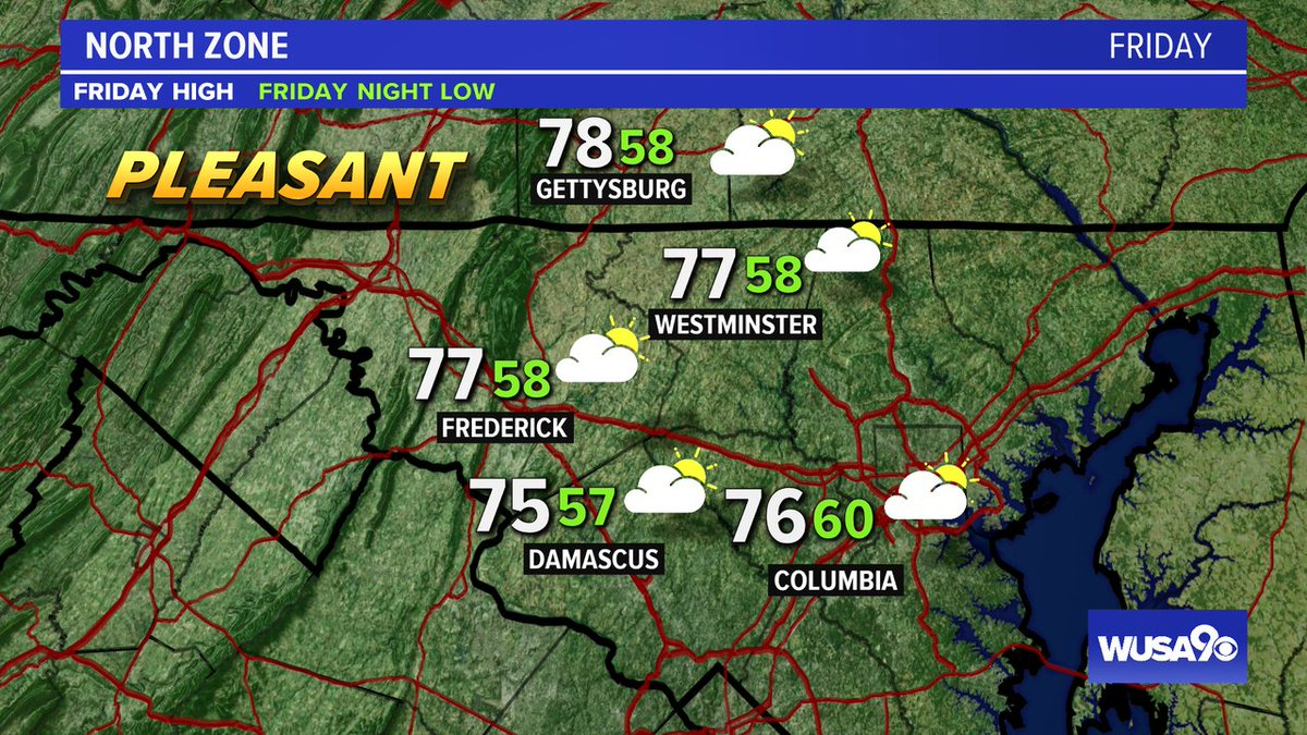 Here is your zone forecast. A pleasant day with some sunshine. @Fred_MD_Police @HCPDNews @wusa9  @HBWX @miriweather @chesterlampkin #WFH #wusa9weather #weather #DC #dcwx #vawx #mdwx #GetUpDC https://t.co/22dBSKhDf4 https://t.co/91vW8mdAHB