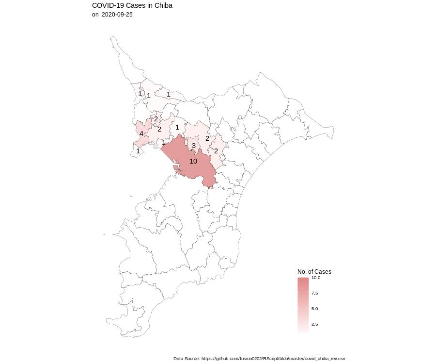 #千葉県コロナマップ(9月25日19時現在)データファイル:スクリプト:①本日の新規感染者数②直近1週間のホットスポット