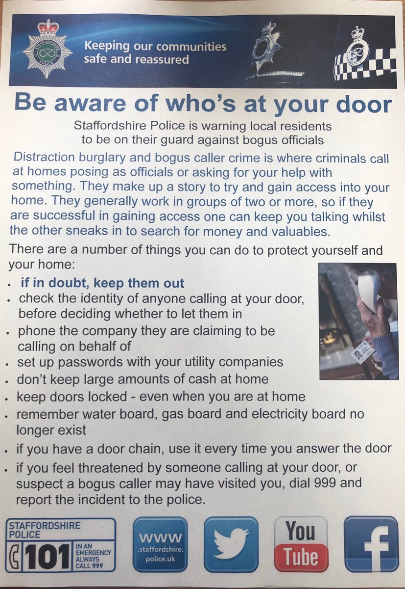 Reports last night of suspicious males knocking doors on the Springfields estate. Not showing ID badges and asking about energy bills. This may or may not of been legitimate, so please be aware of who is at your door. If I'm doubt, keep them out. Stay alert!  PCSO Liz Dale https://t.co/9QFPrMIO1K