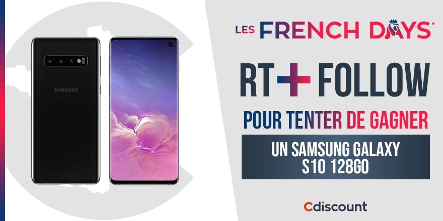 🎁 #Concours #FrenchDays  Un Samsung Galaxy S10 est à gagner pour les French Days sur Cdiscount : https://t.co/mywqQNXS6K  Pour tenter de le remporter :   🔸 RT ce tweet 🔹 Follow @Cdiscount  ⏰ TAS 30/09 https://t.co/mF3U1eaS0O