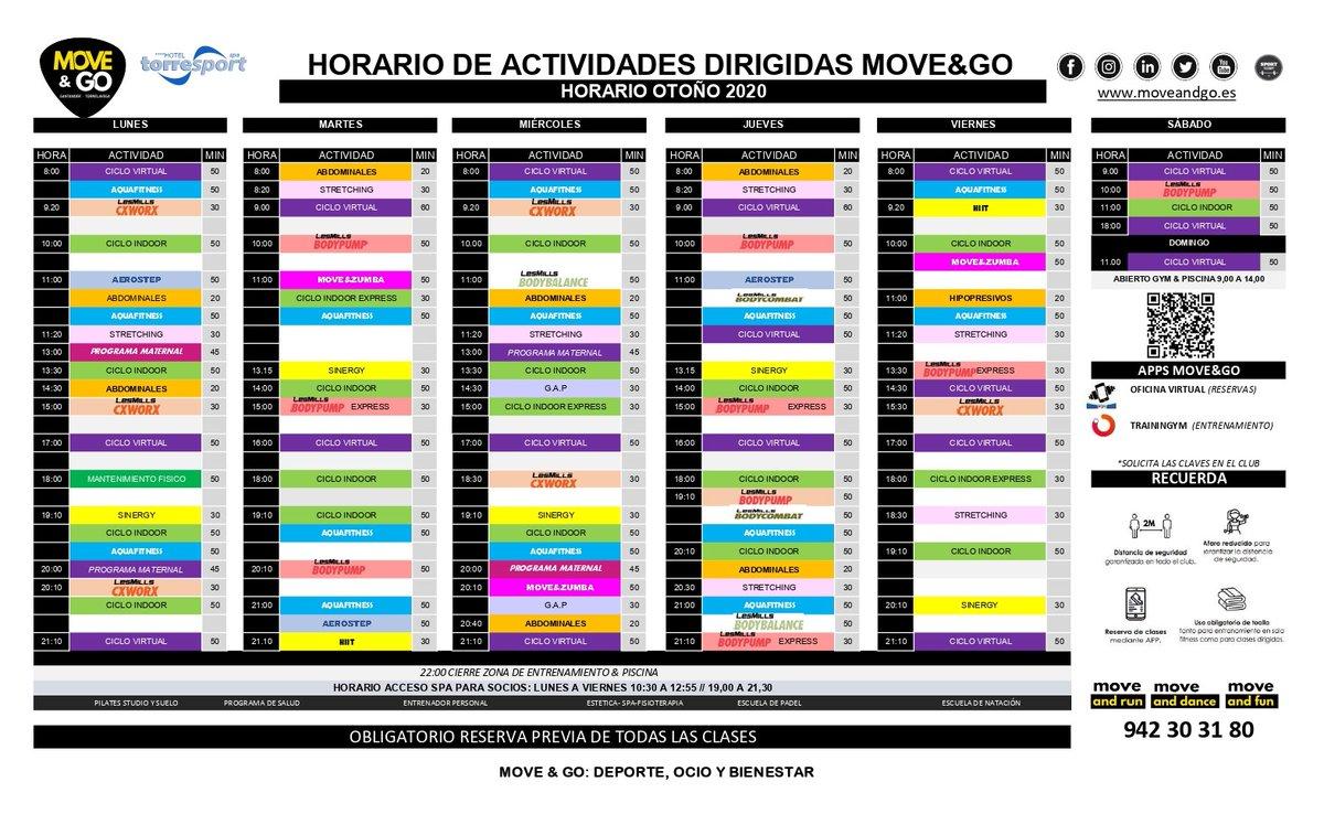 🆕 Ya está disponible el nuevo horario de actividades dirigidas para #otoño en Move&Go #Torrelavega.  ⚠️ Recordamos a todos nuestros usuarios que hay que reservar plaza previa en todas las clases dirigidas.   ----------- #Fitness #Gym #Cantabria https://t.co/AIasfAanQ5