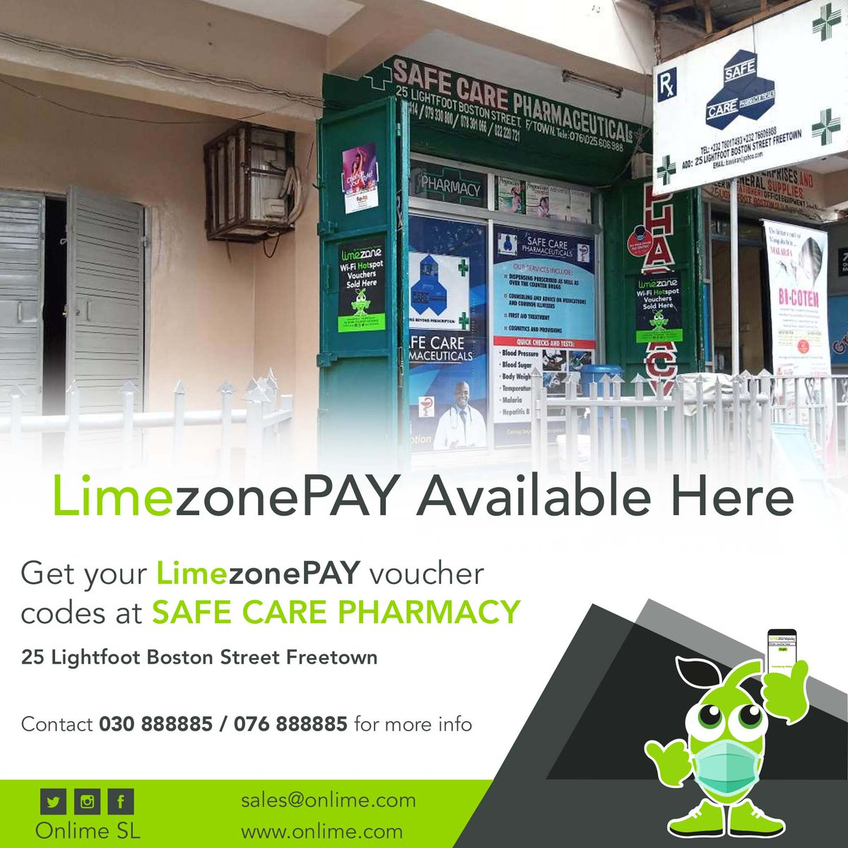 Get your LimezonePAY Voucher codes from Safe Care Pharmacy, 25 Lightfoot Boston Street, Freetown. contact +23230888885/+23276888885 for more info. #StayConnected #StaySafe #LimezonePAY #SuperfastInternet https://t.co/VxZR5begNS