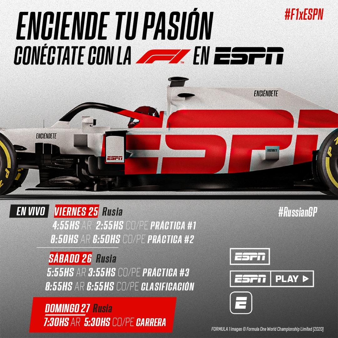 Los horarios para el Gran Premio de Rusia. Uno de los premios más tempranos para la transmisión latinoamericana. Pendientes #F1 #RussianGP https://t.co/t4W72VIhfD