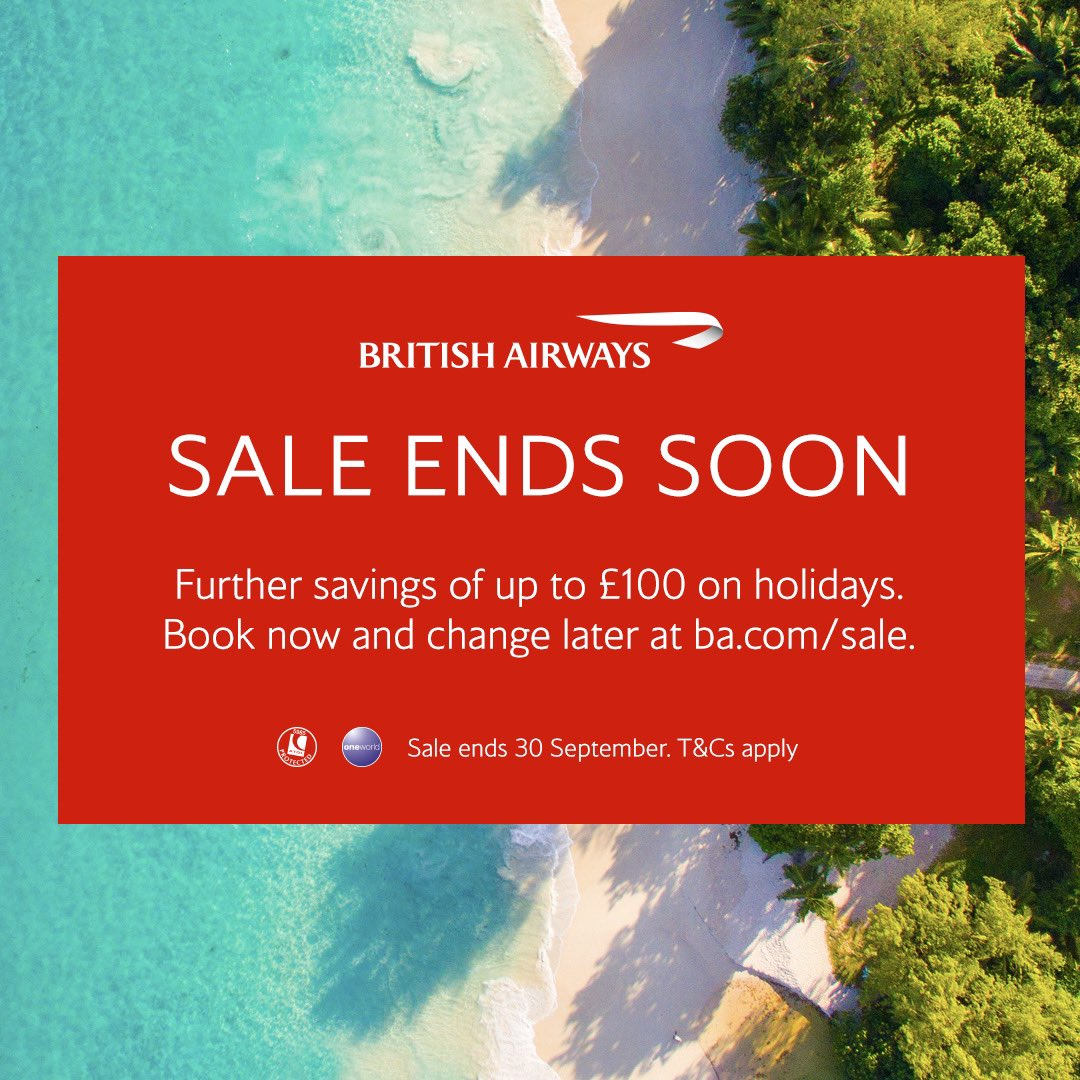 There's less than one week to book our sale and to make the offer even sweeter, we're offering additional savings of up to £100 on selected holidays for UK customers only travel until 15 September 2021. Sale ends 30 September 2020. Book now at https://t.co/1MzKkJmVeY terms apply. https://t.co/iws55TWB2l