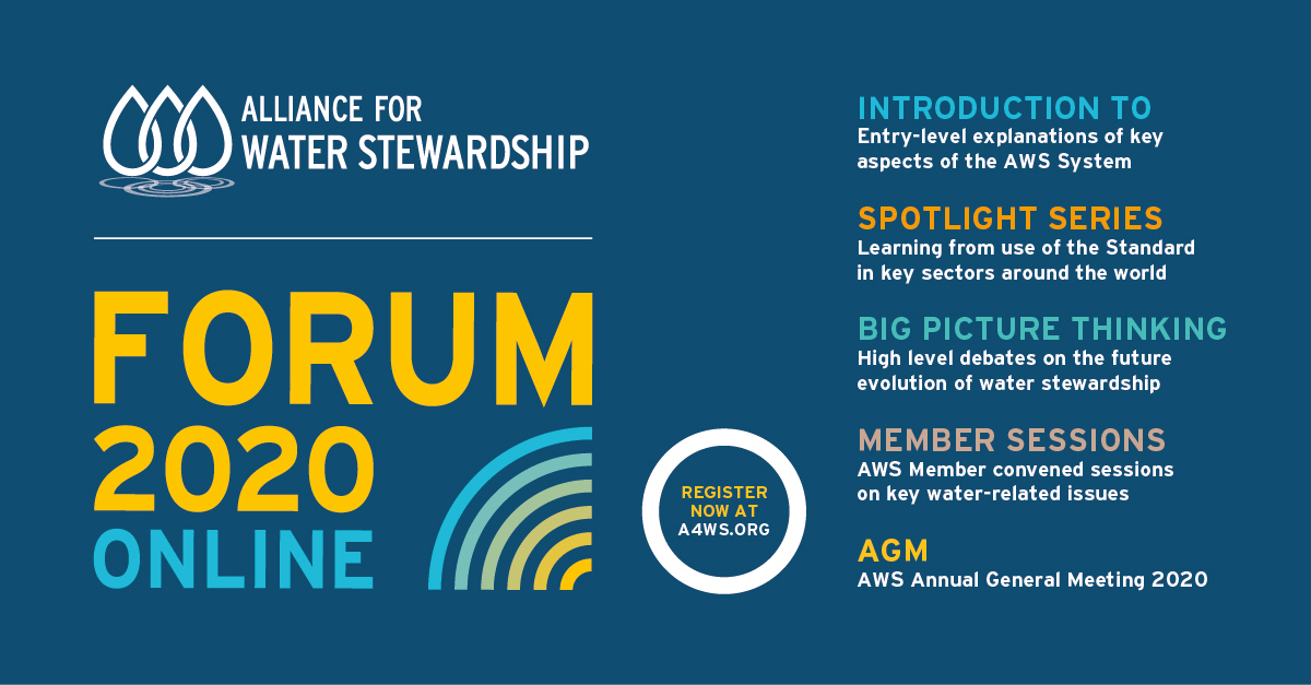 We are excited to announce the AWS Global #WaterStewardship Forum will take place #Online, from 16 November - 3 December 2020.   For more information and registration visit 👇   #A4WS #OnlineForum