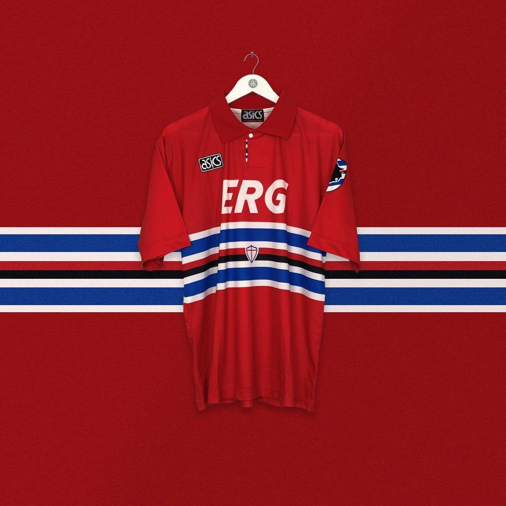 One of our favourite shirt/sponsor combos. No idea what ERG actually is but those italicised capitals are eye candy. ➡️ cultkits.com/sampdoria--8-1…