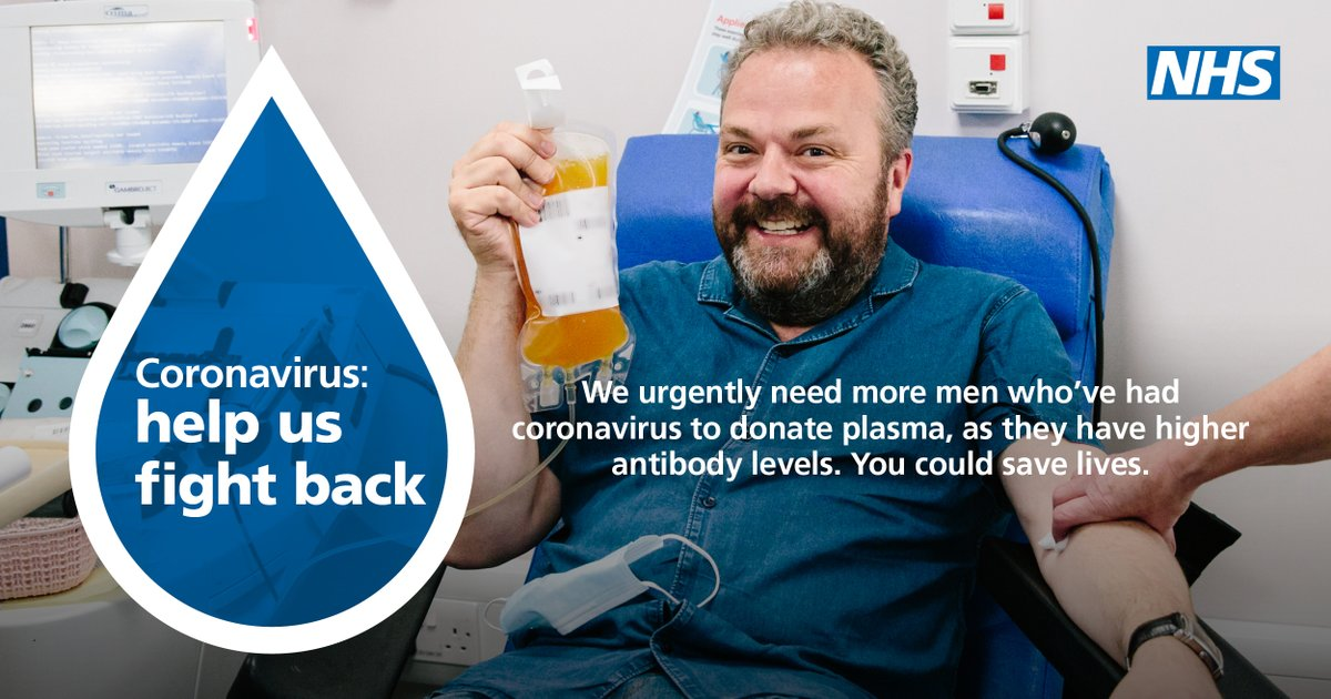 The NHS needs plasma donations from people who've had coronavirus, especially men. Your blood plasma could save lives. There's a donor centre in Birmingham, Leicester, Nottingham and Stoke. Offer to donate at https://t.co/cldDHWe3l8 https://t.co/9pIrtXasZL