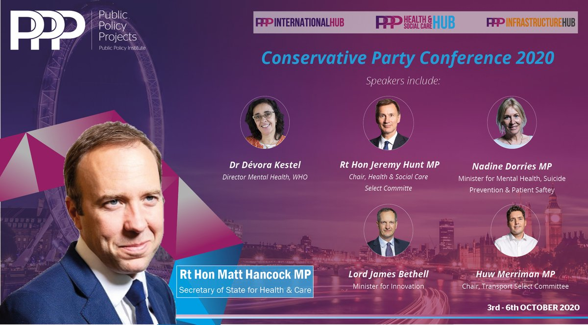test Twitter Media - Join @Policy_Projects' Virtual Hubs at the 2020 @Conservatives Party Conference 3rd-6th October Headline speakers include @MattHancock, @Jeremy_Hunt  Dr Devora Kestel @WHO, @HuwMerriman, @NadineDorries  GET TICKETS: https://t.co/ozNWV9dRfE https://t.co/9bLiPnSKrV