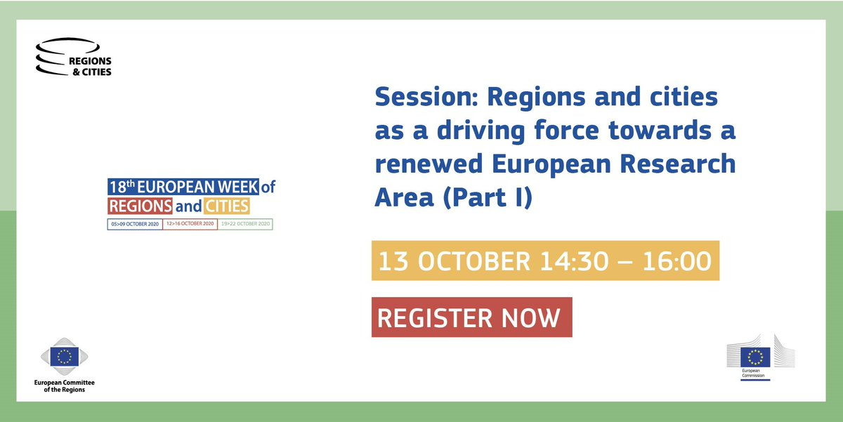 Join us on 13 October, 14:30h at #EURegionsWeek to discover #EUResearchArea and its impact on regions and cities in Europe🇪🇺  ✍️Register here➡️https://t.co/yN5iS9jr2h https://t.co/OVSP1B7Ywj