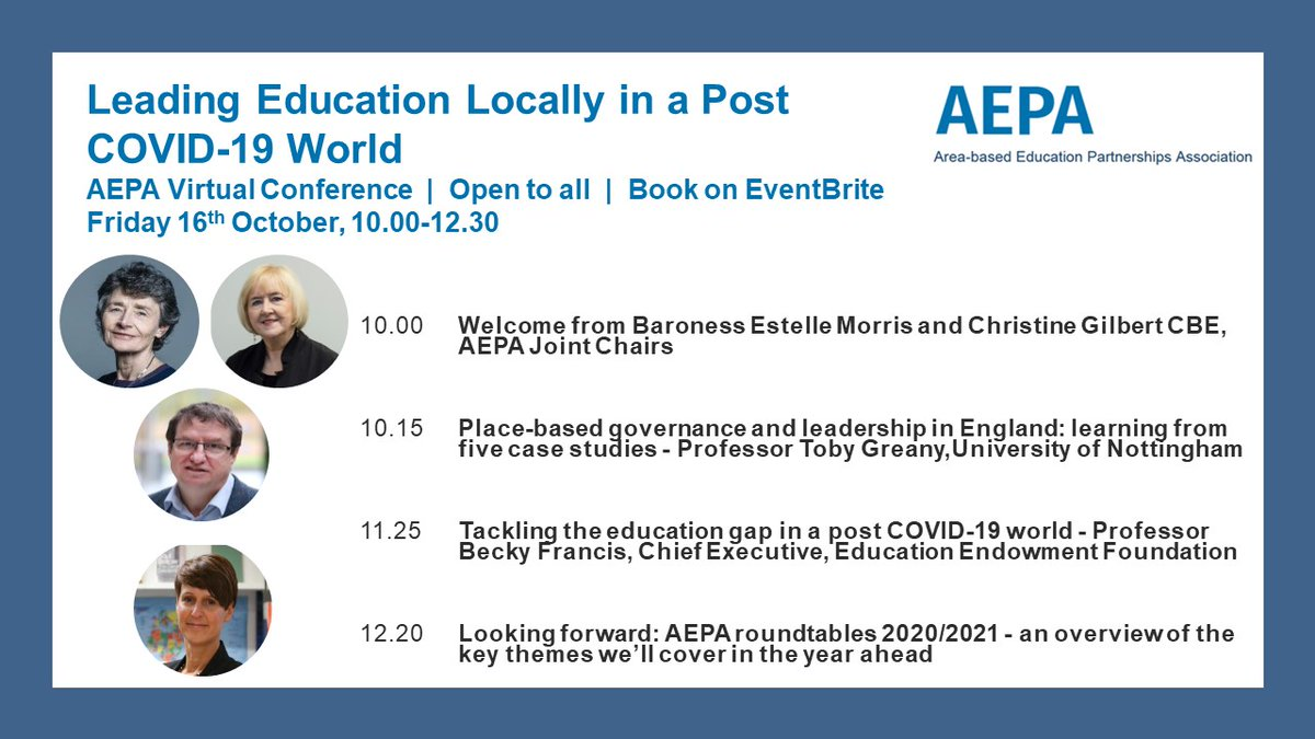 What is the role of local education leadership in a post COVID-19 world? Join the AEPA virtual conference to hear from two brilliant speakers, @TobyGreany and @BeckyFrancis7, as well as @BaronessMorris and Christine Gilbert. Open to all - book tickets here https://t.co/QYn2mcMEr1 https://t.co/hKtKCC1UMo