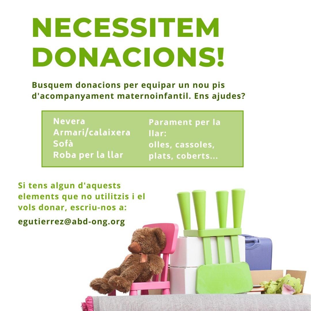 test Twitter Media - 📣 Necessitem donacions per equipar un nou pis d'acompanyament maternoinfantil. Ens ajudes? 👋 Busquem: ➡️ Nevera  ➡️ Armari/calaixera ➡️ Sofà ➡️ Roba per la llar ➡️ Parament per la llar 📨 Col·labora enviant un e-mail a egutierrez@abd-ong.org https://t.co/hloUjHoHAM
