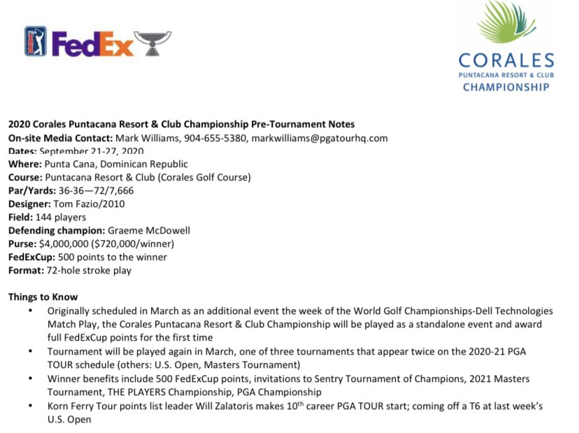 Note I caught during research, they upgraded the #CoralesChampionship  this year to be a full #fedexcup event, big opportunity for the field this week. #pgatour https://t.co/9lenBfjm7h
