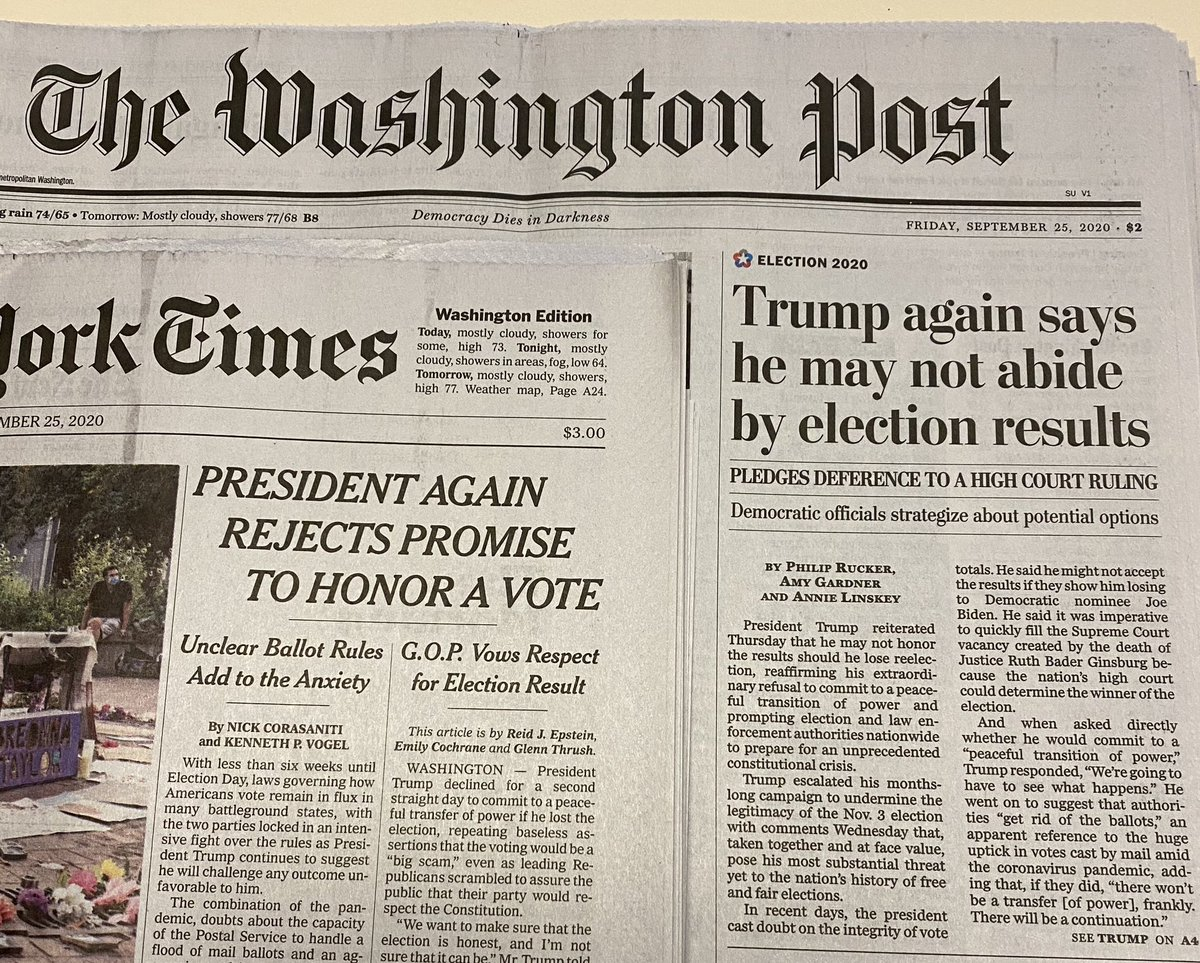 Did you ever think we would wake up and see headlines like these in the @washingtonpost and @nytimes !! https://t.co/tSHv1lKZVS