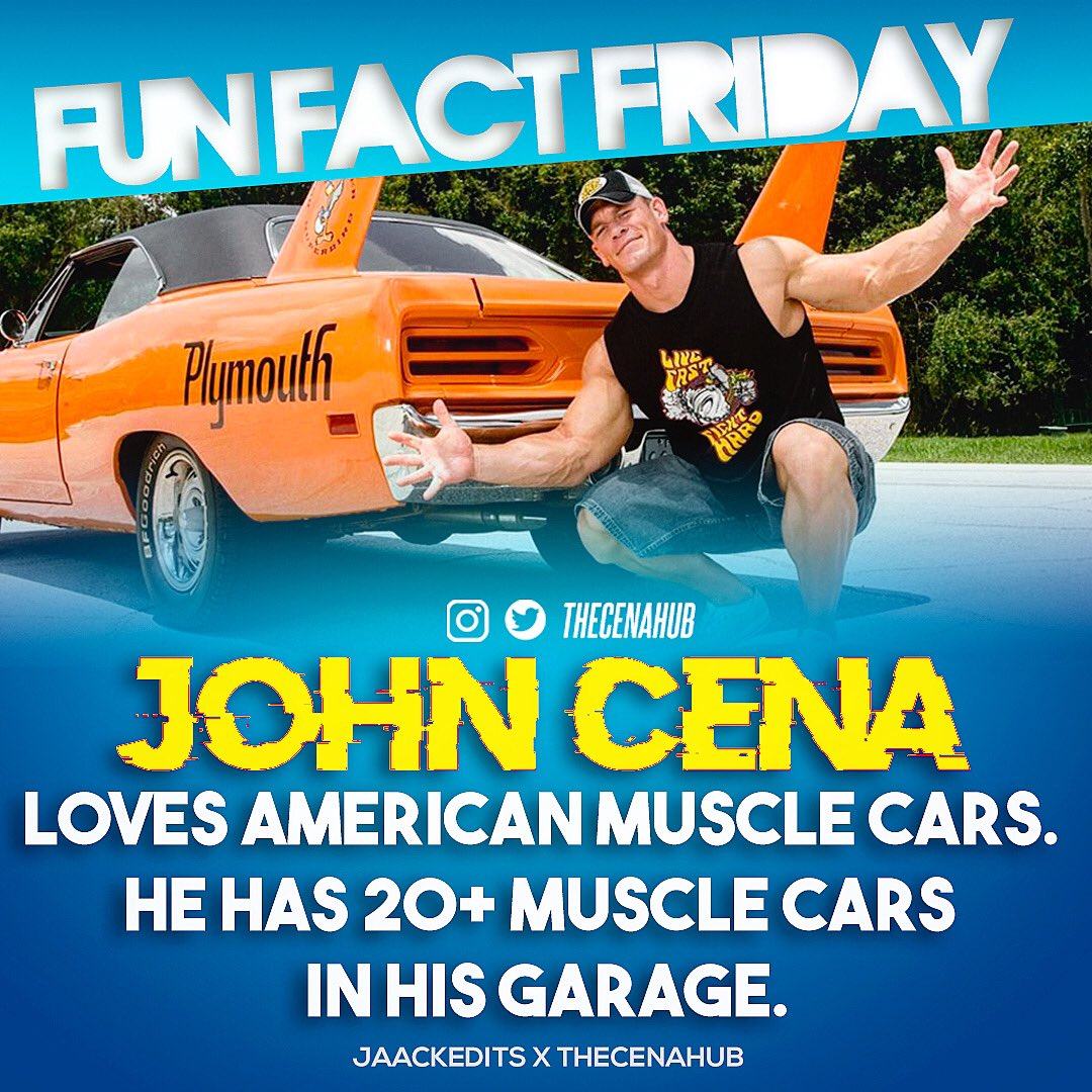 Here's today's @JohnCena #FunFactFriday! • @JohnCena loves American muscle cars. He has 20+ muscle cars in his garage. » 📸: @jaackedits.(IG) • • • • #JohnCena #AmericanMuscleCars #MuscleCars #Facts #FunFact #FunFacts #WWE https://t.co/2fGj3unBKt