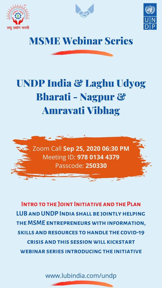 Laghu Udyog Bharati Nagpur Vibhag is inviting you to a scheduled Zoom meeting.  Topic: Laghu Udyog Bharati & UNDP India - Nagpur & Amravati Vibhag Time: Sep 25, 2020 06:30 PM   Join Zoom Meeting https://t.co/wBGdAkwHAT  Meeting ID: 978 0134 4379 Passcode: 250330 https://t.co/PdmjsXgino
