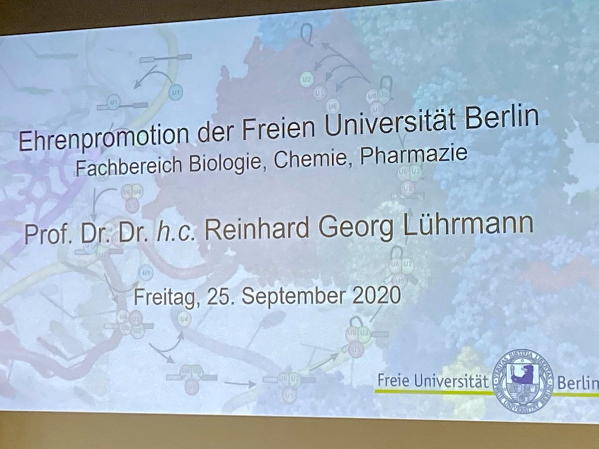Very excited that @FUBiochemistry @FU_Berlin are today giving an honorary doctorate degree to Prof. Dr. Reinhard Georg Lührmann https://t.co/CtrwdK3ypn