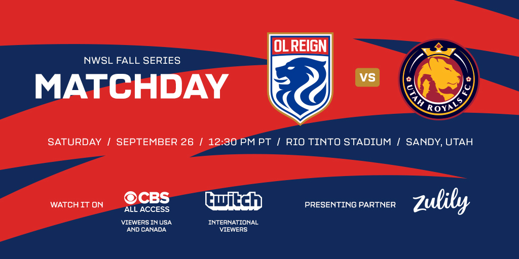 Tomorrow, we battle @utahroyalsfc in our NWSL Fall Series opener. Get all the details on the upcoming match, airing at 12:30pm PT on @cbsallaccess in the US and Canada and @Twitch for international fans. Read the Match Preview: olreign.com/news/2020/9/25…