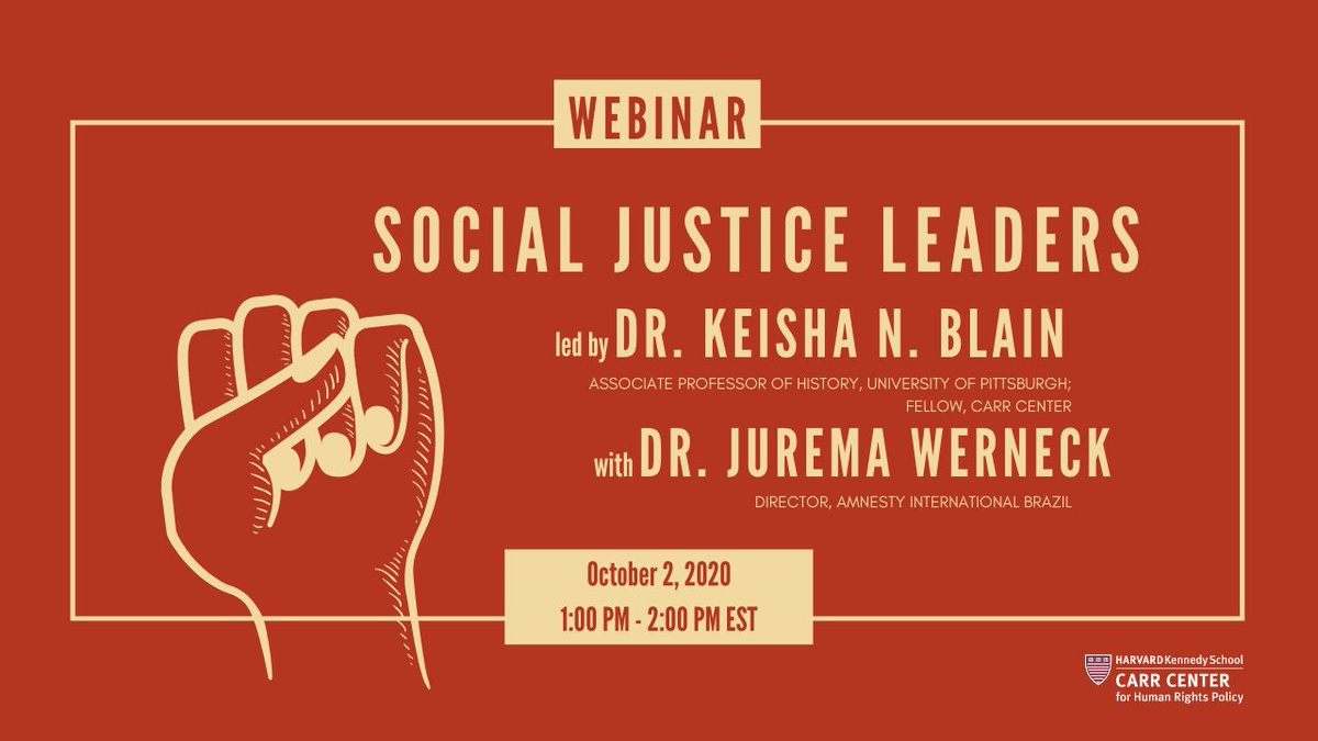 Join me next Friday (10/2) at 1pm EST for a conversation  @CarrCenter with @juremawerneck of Amnesty International #Brazil! She has 20+ years of experience working in #humanrights. We'll discuss #activism, #politics, #leadership & more.✊🏾  Register here: https://t.co/c2noWI7ZSt https://t.co/4pbABcxbNS