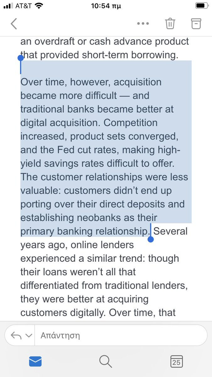 """When your competitive differentiator is just a cool mobile app and not a true product innovation, """"disruption"""" comes back and bites you 🤷♂️ - from the great @a16z #fintech newsletter on neobanks https://t.co/d4iNqwdMvX"""