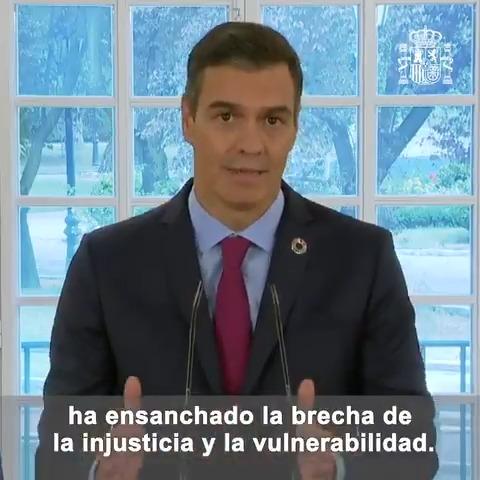 Twitter Pedro Sánchez. La pandemia afecta a toda la humanidad ...: abre ventana nueva