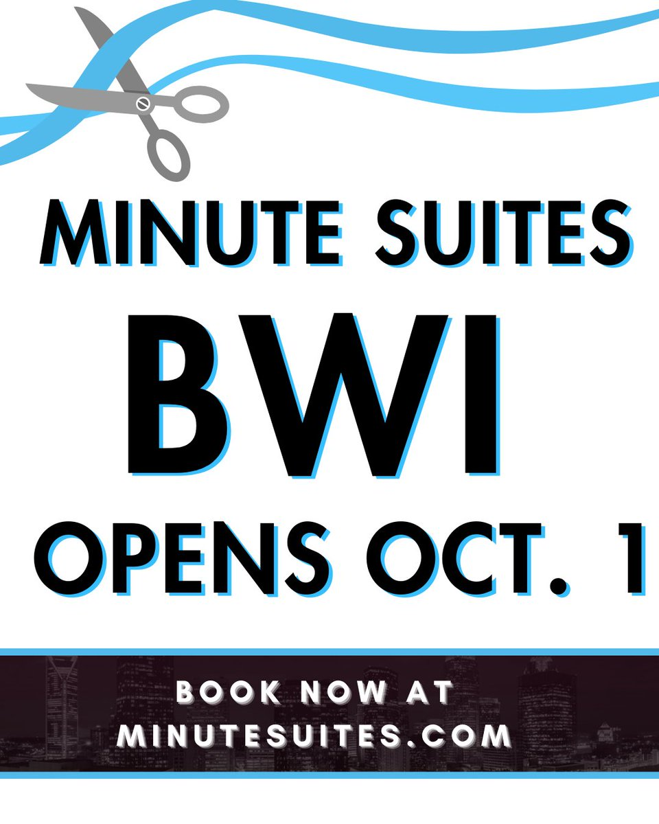 We are beyond excited to make this HUGE announcement! MINUTE SUITES BWI OPENS ON THURSDAY! Start booking your private retreat now. https://t.co/SVqcOB7jMp #travel #airport #BWI #layover #grandopening #booknow #lounge @prioritypass https://t.co/ENDGnIIRdi